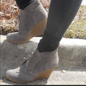 MIA Gray Wedge Booties